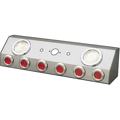 "Stainless steel air line box w/single connection and 6 round 2"", 2 round 4"" light holes"