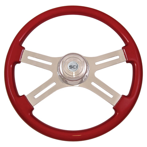 """Classic Red"" finish 18"" wood steering wheel - 3 hole style"