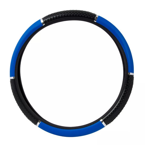 "18"" deluxe steering wheel cover - blue with black hand grips"