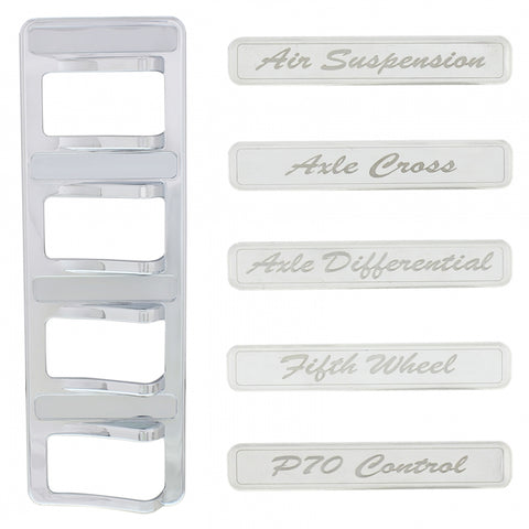 Peterbilt 567/579 chrome plastic rocker switch panel w/stainless steel nameplates - 4 switches
