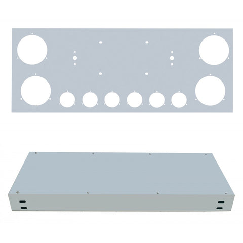 "12"" stainless steel rear center panel w/4 round 4"" and 6 round 2"" light holes"