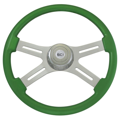 """Classic Green"" finish 18"" wood steering wheel - 3 hole style"