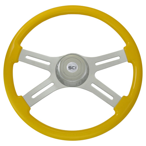 """Classic Yellow"" finish 18"" wood steering wheel - 3 hole style"