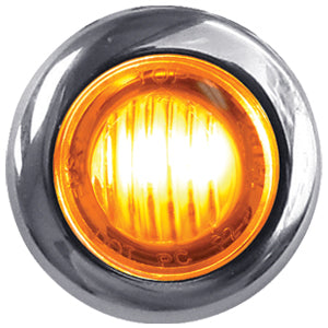"Dual Revolution Amber/Red 1"" mini button LED marker light - CLEAR lens"