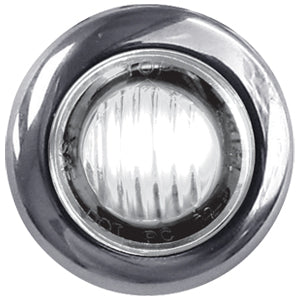 "Dual Revolution Amber/White 1"" mini button LED marker light - CLEAR lens"