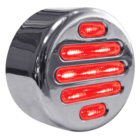 "Dual Revolution Flatline Red/Blue 2"" round 9 diode LED marker light - CLEAR lens"