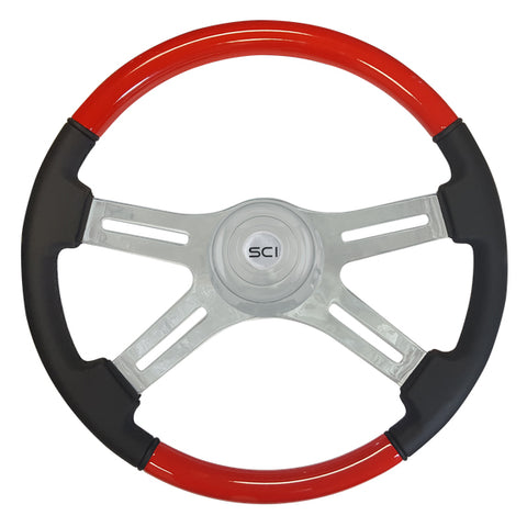 """Viper Red"" painted wood 18"" steering wheel w/leather grips - 3 hole style"