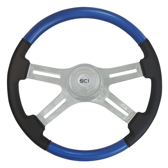 """Classic Blue"" painted wood 18"" steering wheel w/leather grips - 3 hole style"