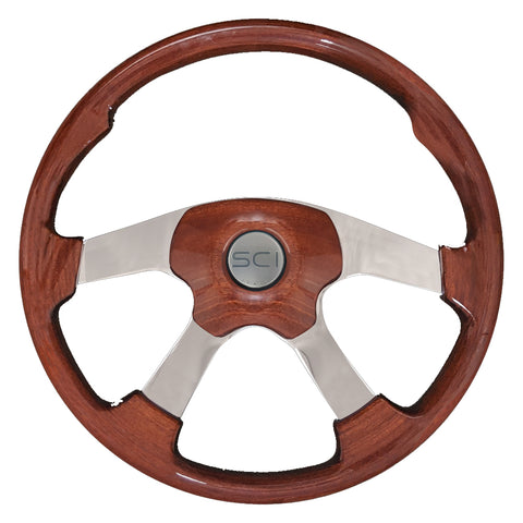 """Wildwood Dark Mahogany"" 18"" stained wood steering wheel w/4 chrome spokes - 5 hole hub"