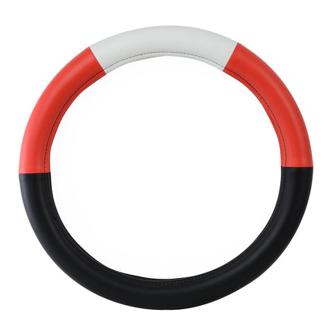 "18"" deluxe steering wheel cover - half black w/red, white, and red"