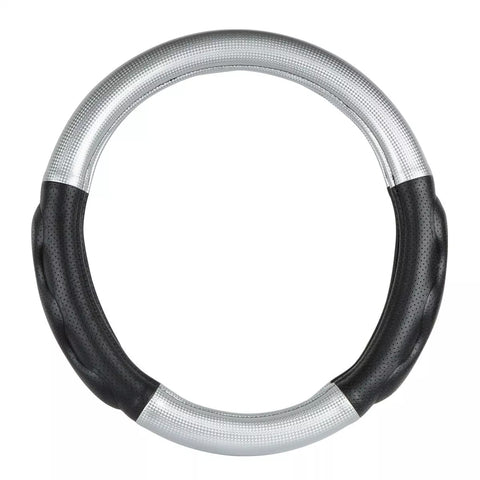 "18"" deluxe steering wheel cover - silver with black comfort pads"