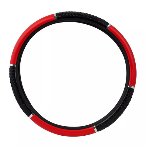 "18"" deluxe steering wheel cover - red with black hand grips"