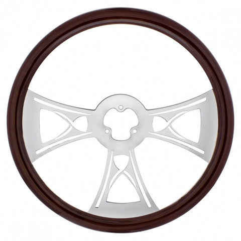 """Hourglass"" wood rim 18"" steering wheel w/chrome spokes - 3 hole style"