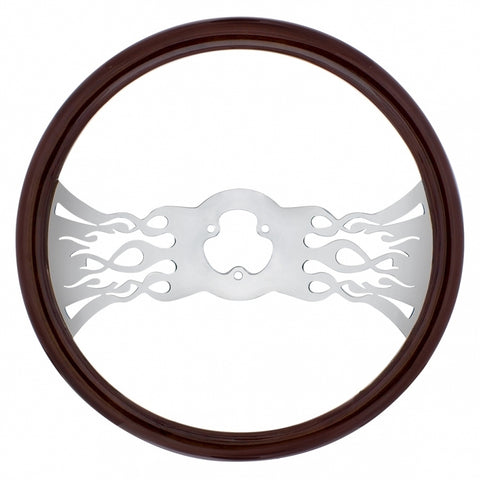 """Inferno"" wood rim 18"" steering wheel w/chrome spokes - 3 hole style"