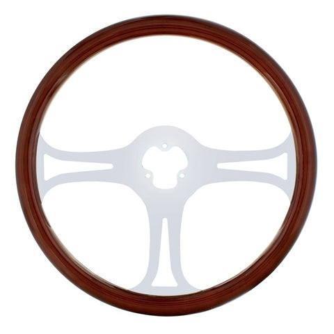"""Blade"" wood rim 18"" steering wheel w/chrome spokes - 3 hole style"