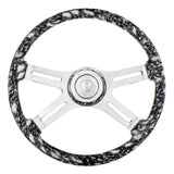 """White Skulls"" painted wood 18"" steering wheel w/chrome spokes - 3 hole style"