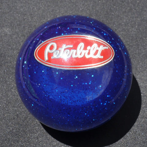 "Blue Glitter w/Peterbilt embedded logo 2.25"" diameter round gear shift knob"