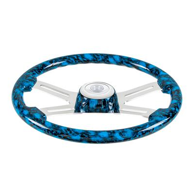 """Blue Skulls"" painted wood 18"" steering wheel w/chrome spokes - 3 hole style"