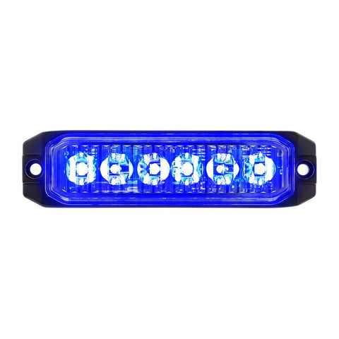 "Blue ""Competition Series"" slim 6 diode LED strobe / warning light"