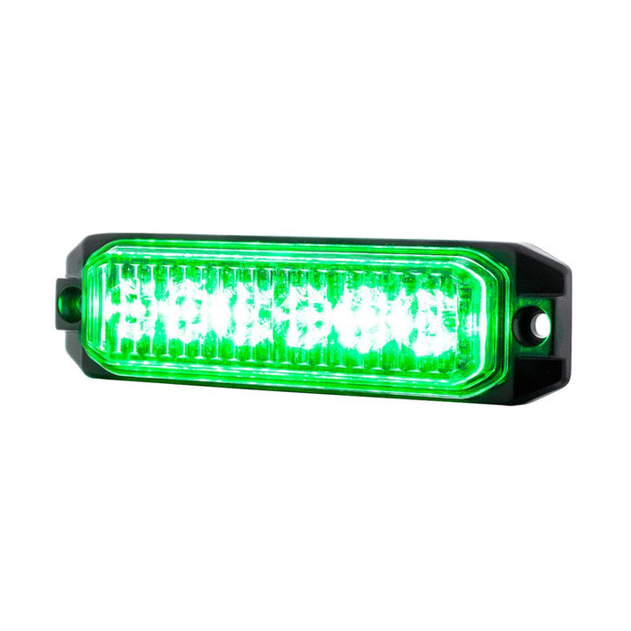 "Green ""Competition Series"" slim 6 diode LED strobe / warning light"