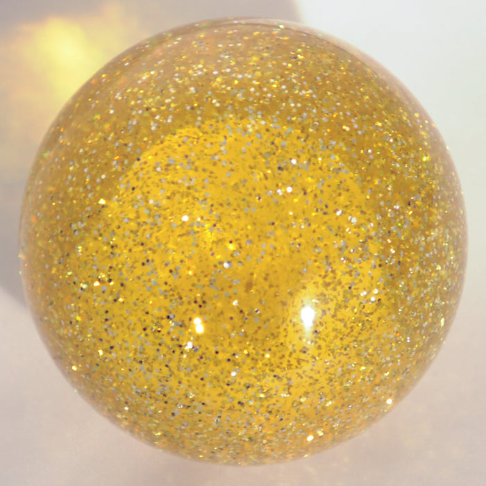 "Yellow glitter 2.25"" diameter round gear shift knob w/ 1/2"" x 13 adapter"