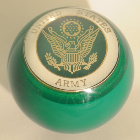 "Green w/Army embedded emblem 2.25"" diameter round gear shift knob"