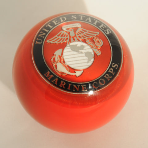 "Red w/Marine Corps embedded emblem 2.25"" diameter round gear shift knob"