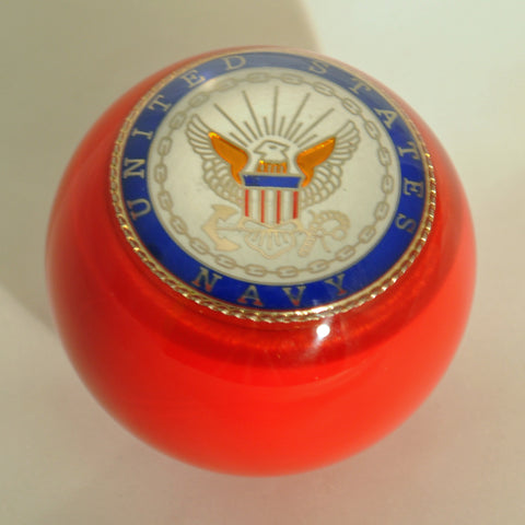 "Red w/Navy embedded emblem 2.25"" diameter round gear shift knob"