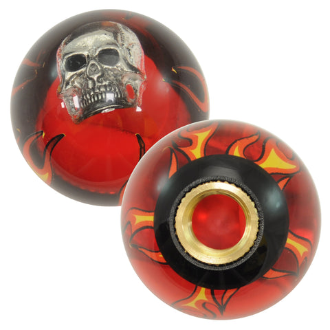 "Flames red transparent w/Skull embedded 2.25"" diameter round gear shift knob"