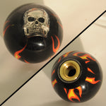 "Flames black w/Skull embedded 2.25"" diameter round gear shift knob"