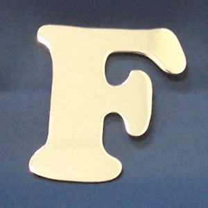 "2"" chrome cut out alphabet letter - tape mount - ""F"""