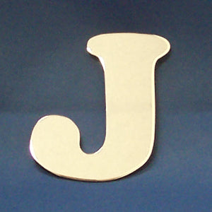 "2"" chrome cut out alphabet letter - tape mount - ""J"""