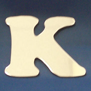 "2"" chrome cut out alphabet letter - tape mount - ""K"""