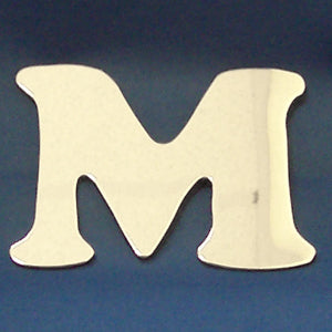 "2"" chrome cut out alphabet letter - tape mount - ""M"""