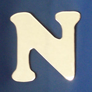 "2"" chrome cut out alphabet letter - tape mount - ""N"""