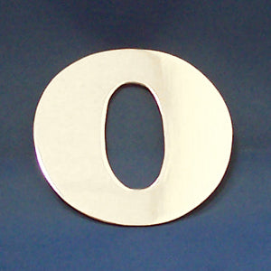 "2"" chrome cut out alphabet letter - tape mount - ""O"""
