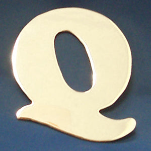 "2"" chrome cut out alphabet letter - tape mount - ""Q"""