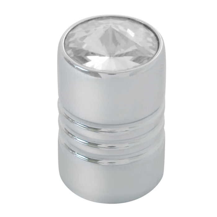 Chrome aluminum tire valve stem cover with jewel - PAIR