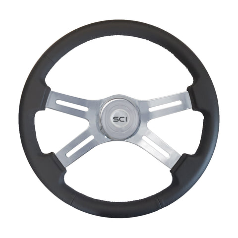 """Classic Black"" leather 18"" wood steering wheel - 3 hole style"
