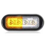 "Maxxima Amber/White 8 diode split color 3.8"" x 1.5"" low profile surface mount LED strobe light"