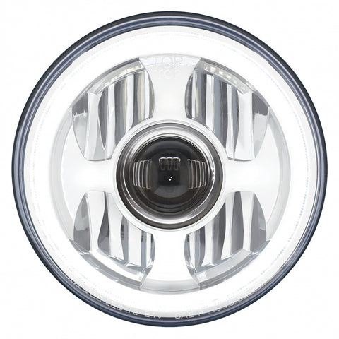 """Halo Glow"" single 7"" diameter LED projection-style headlight with amber/white outer ring - SINGLE"