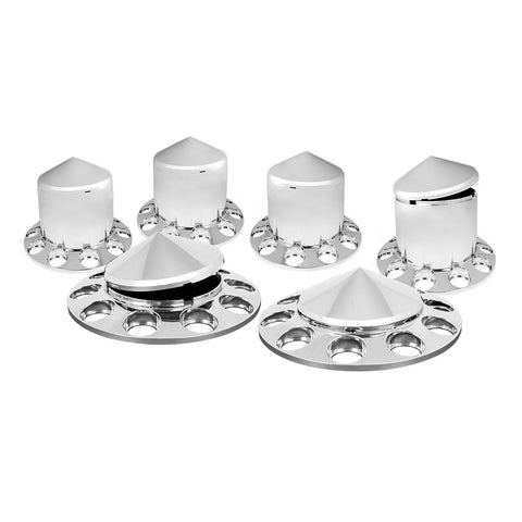 Full set of 6 pointed chrome plastic axle covers without lugnut covers - 2 steers, 4 drives