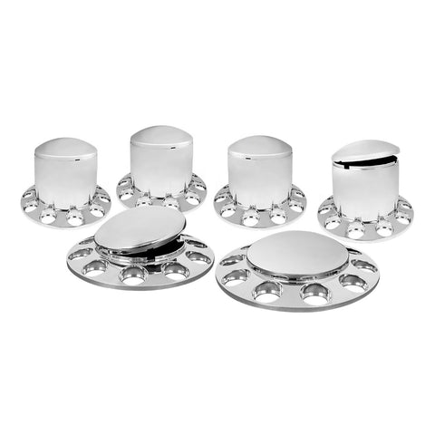 Full set of 6 domed chrome plastic axle covers without lugnut covers - 2 steers, 4 drives