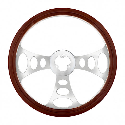 """Chopper"" wood rim 18"" steering wheel w/chrome spokes - 3 hole style"