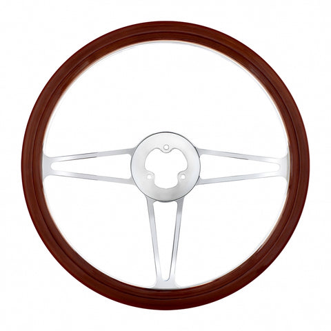 """Sting"" wood rim 18"" steering wheel w/chrome spokes - 3 hole style"