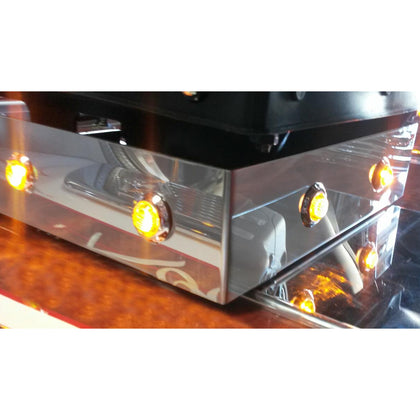 "Universal stainless steel low profile seat base cover w/8 holes ONLY for 3/4"" button lights - SINGLE"
