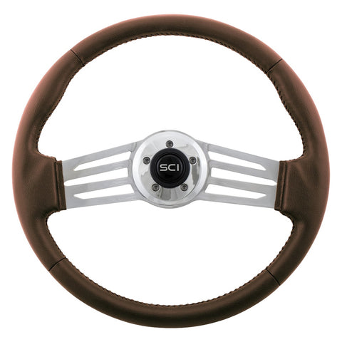 """Italian Sky Laredo"" 18"" steering wheel w/brown vinyl wrap, 2 chrome spokes - 5 hole style"