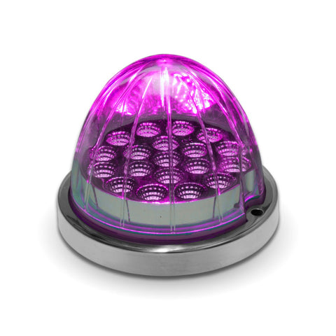 Dual Revolution Red/Purple 19 diode watermelon-style LED light w/base - CLEAR lens