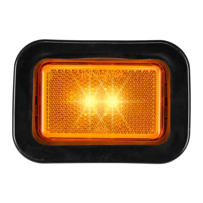 "Amber 3"" x 2"" rectangular single-function LED marker light- includes grommet & pigtail"