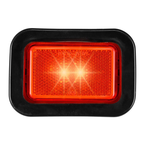 "Red 3"" x 2"" rectangular single-function LED marker light- includes grommet & pigtail"